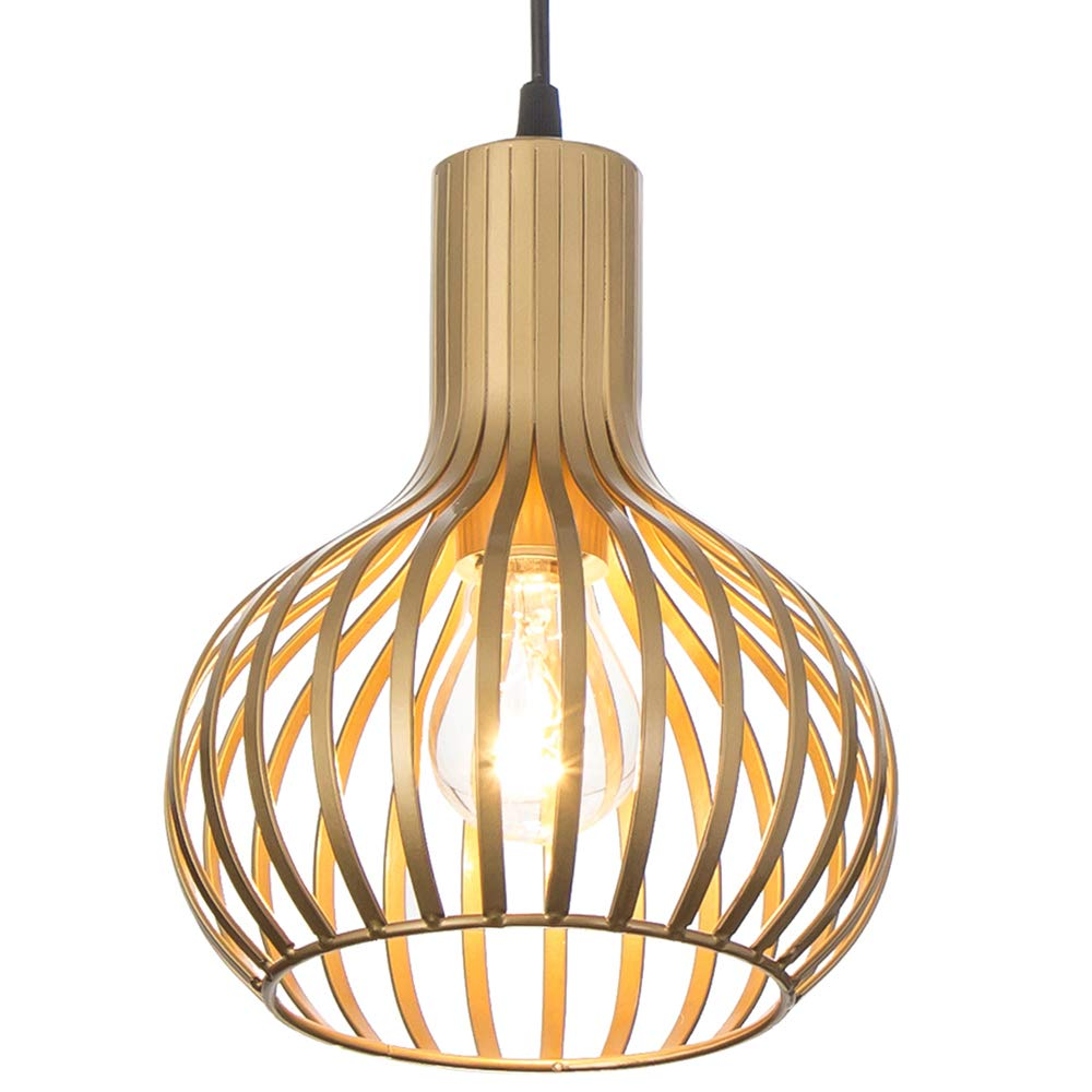 Popilion Champagne Metal Ceiling Pendant Light,Industrial Adjustable Pendant Lights with Uniform Gold and Smooth Surface