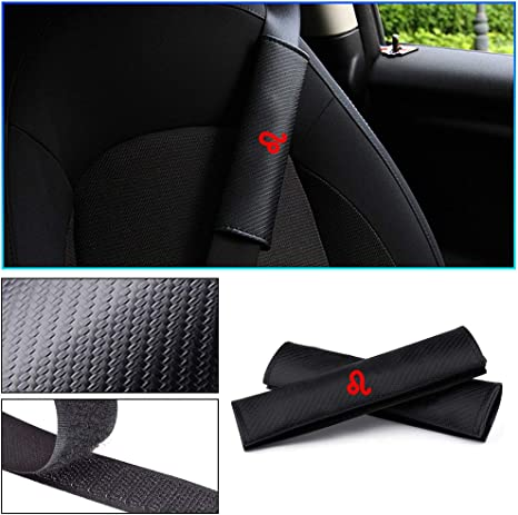 2pcs Brown Carbon Fiber Safety Seat Belt Cover Shoulder Pads Cushion