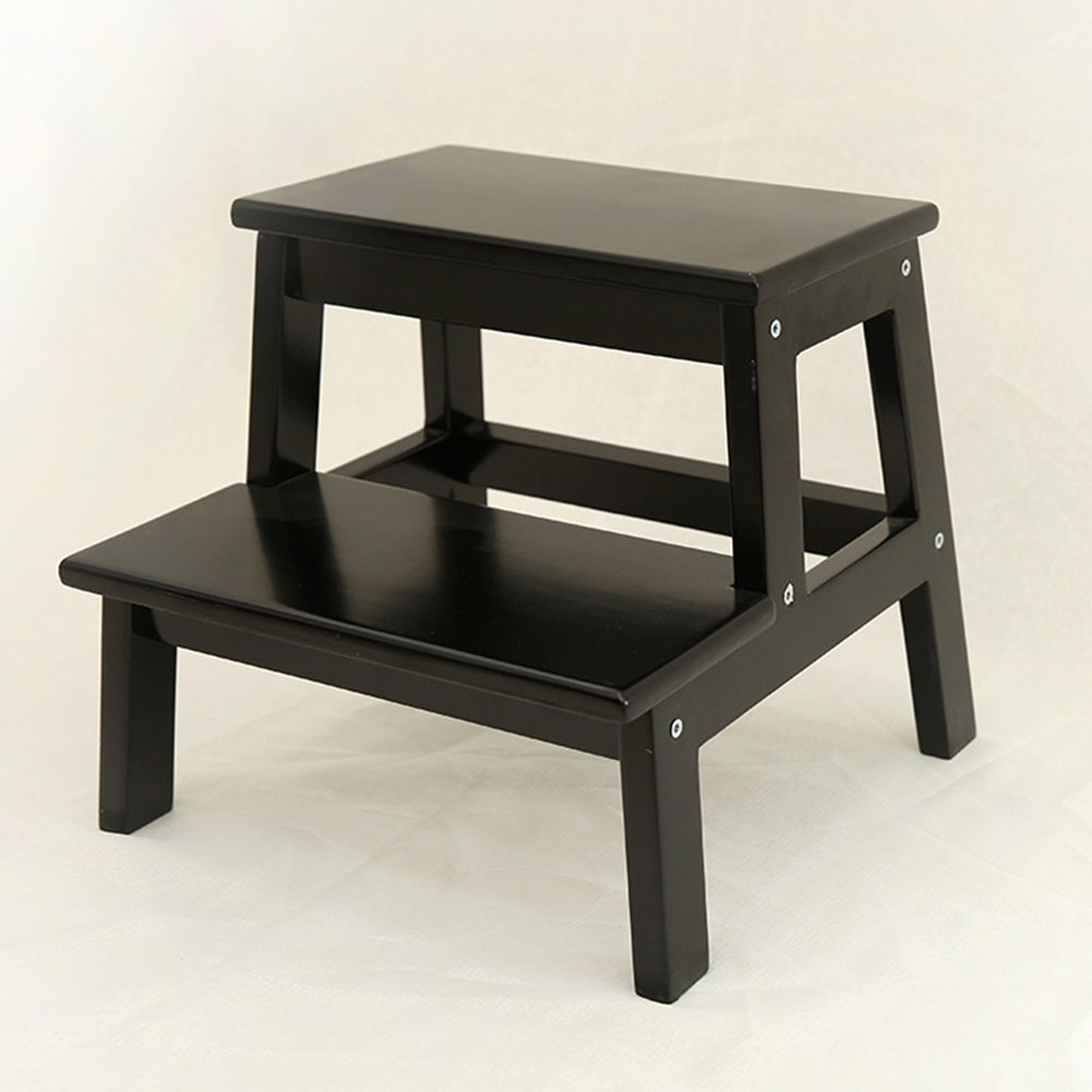 Wooden Solid 2 Step Stool Wood Stool Bench Shoe Bathroom Stool (Color : Black, Size : S) HWF Shop