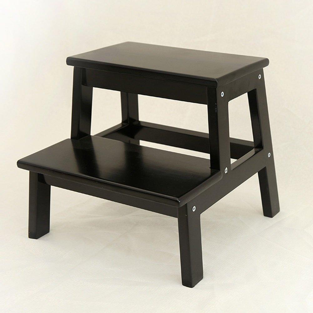 Wooden Solid 2 Step Stool Wood Stool Bench Shoe Bathroom Stool (Color : Black, Size : S) HWF Shop