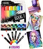 Hair Chalk Rainbow Edge Stix Blendable Hair Color With Scents, 6 Colorful Hair Chalk Pens Edge Chalkers. For Halloween Party Christmas Fun Temporary Hair Chalk For Girls Teens Adults Party or Cosplay