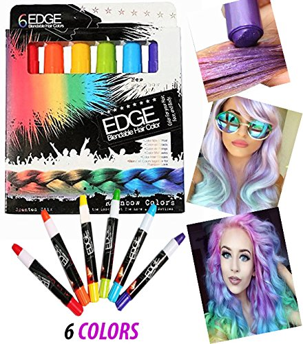 Hair Chalk Rainbow Edge Stix Blendable Hair Color With Scents, 6 Colorful Hair Chalk Pens Edge Chalkers. For Halloween Party Christmas Fun Temporary Hair Chalk For Girls Teens Adults Party (Quick Halloween Craft)