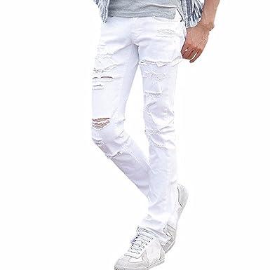 Jomotala Jeans Blanc déchiré Jeans Pantalons avec des trous Super Slim Fit  mince Détruit Distressed Joggers f5a268a0867e