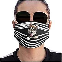 Unisex Funny Print Face Macks Washable Reusable Micro Fiber Material Pet Pattern Face Bandanas (Can Put Filter)