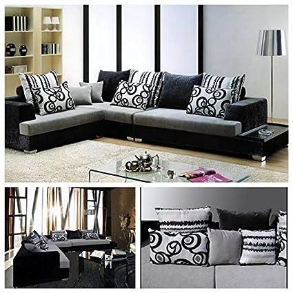Divano soggiorno angolare 340x210 cm bianco e nero divani ...