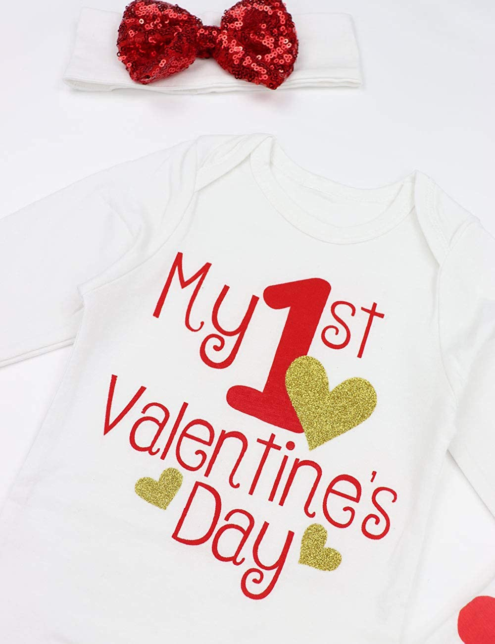 My First Valentines Day Outfit Set Baby Girls Cute Romper Bodysuit Dots Leg Warmers Headband