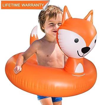Juguete Hinchable Flotador para Piscina, Leeron Flotador de Zorro Animal Colchonetas Flotante para Playa, Anillo de la Natación, Silla de la ...
