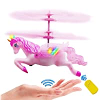 YIMEI Flying Unicorn Toy Gift Girl 6 7 8 9 10-15 Years Old, Pink Mini RC and Hand-Controlled Flying Helicopter Unicorn Fairy Doll Birthday Christmas Party Supplies