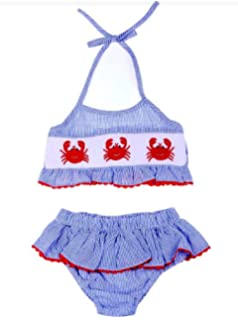 8f99f8c485e0d Amazon.com  Babeeni Baby Girls Toddler 2 Pc Mermaid Smocked Swimsuit ...