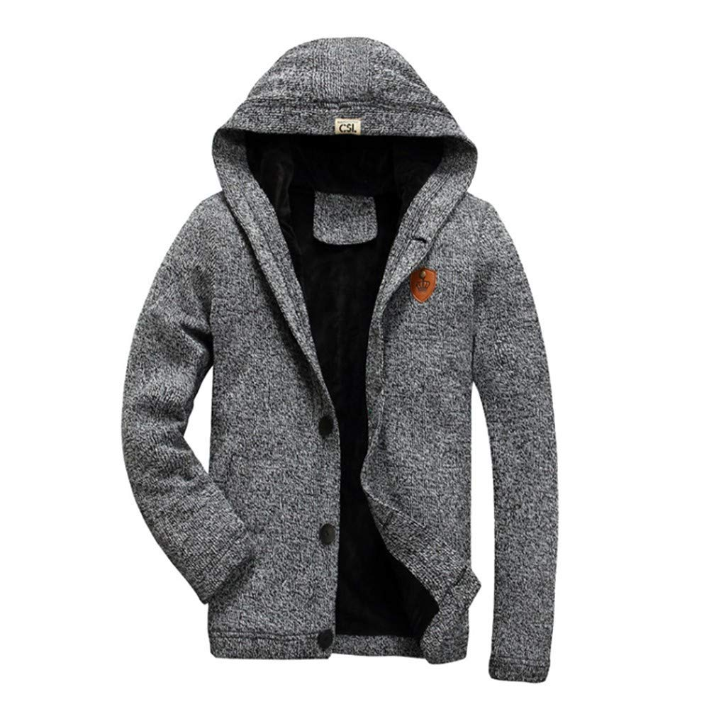 SPORTTIN Men's Cardigan Fleece Sweater Fit Buttondown with Hooded Silm Fit Soft Coat(Gray,M