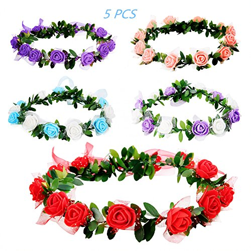 Flower Crown, 5 Pcs Adjustable Women Handmade Floral Headband Crown Girls Flower Hairband for Vacation, Wedding and Party by AOWIN