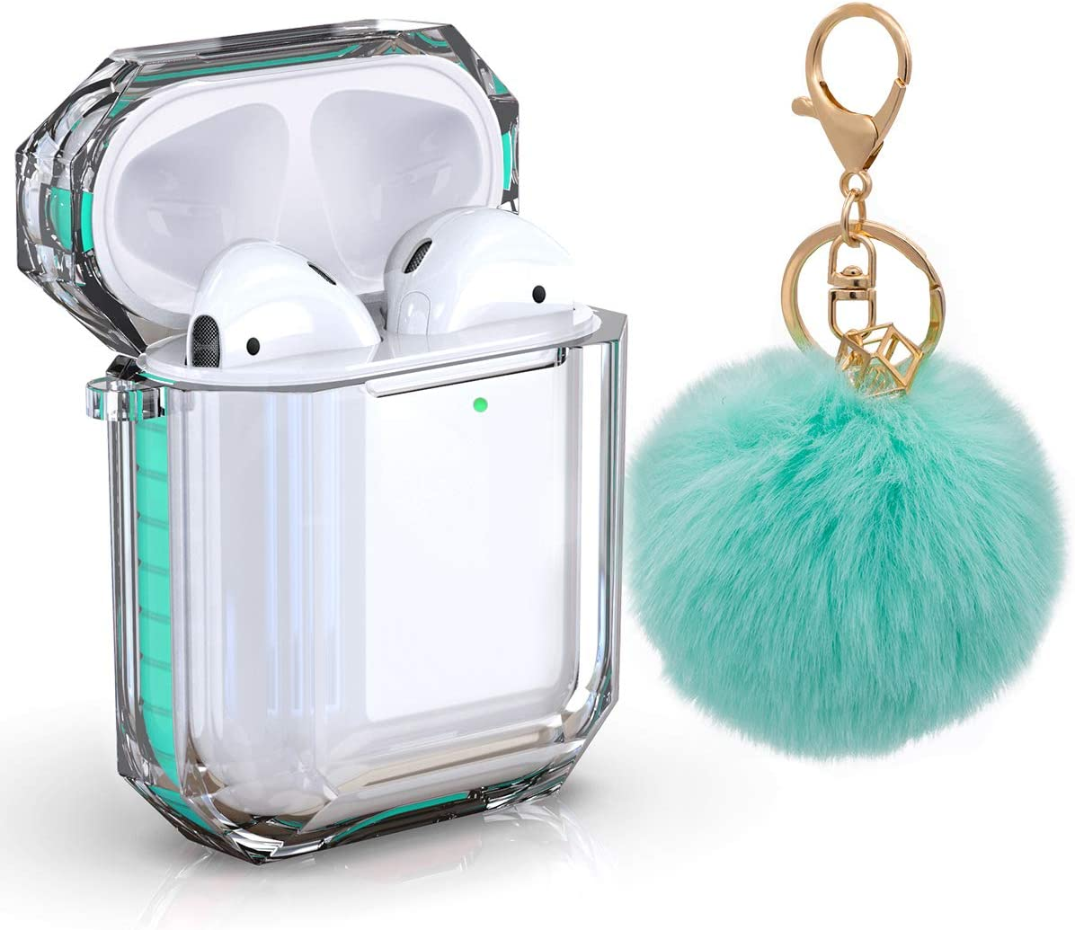 AirPods Case Cover, Zora Shockproof Protective Soft TPU Clear Apple Air Pods 1&2 Cover Case (Front LED Visible) Headphone Case with Cute Fur Ball Anti-Lost Keychain for Girls (Airpods 2, Mint Green)