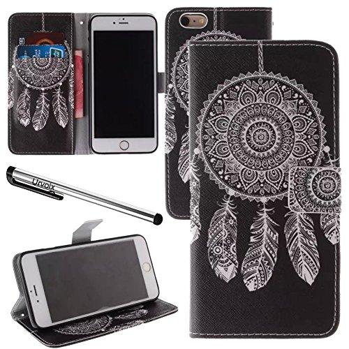 Für 11,9cm iPhone 6/6S, urvoix (TM) Traumfänger Schwarz PU Leder Flip Wallet Case Cover–W/Bild auf Karte Halter, Magnetverschluss, Ständer Funktion für iPhone 6/6S (passt nicht für 6/6splus)