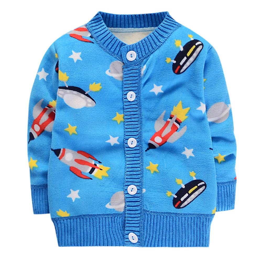 Covermason Baby Winter Clothes, Unisex Baby Warm Sweater Clothes, Toddler Infant Baby Boys Girls Cartoon Print Tops Button Sweaters Warm Clothes