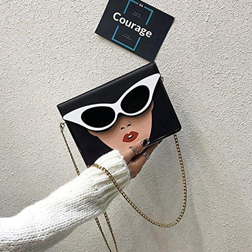 Messenger Beauté Sac Coafit Pour Black À De Soleil Chaîne Bandoulière Impression Femme Lunettes Rabat Couverture XOxTxHwq