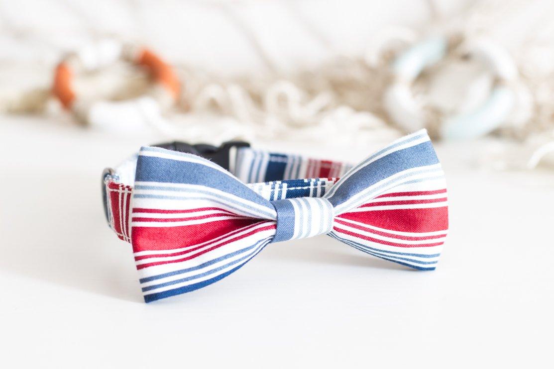 Collare per cani con Papillon Rigato blu e rosso, tema nautico