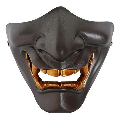 Japanese Prajna Mask, Airsoft Half Face Mask, BB Evil Demon Monster Kabuki Samurai Hannya Oni Half Face Cosplay Mask Grey: Clothing