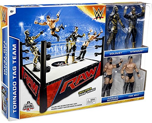 WWE Wrestling Superstar Rings Tornado Tag Team Exclusive Action Figure Playset [with Golddust, Stardust, Damien Mizdow & The Miz] (Mattel Toys) by Mattel