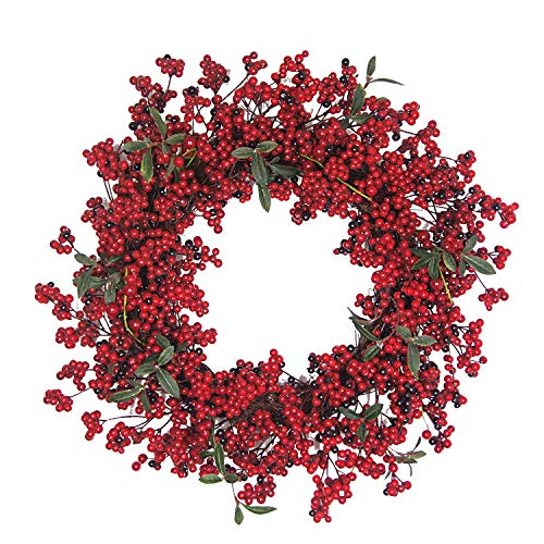 Christmas Red Berry Wreath,22'' Front Door Wreath Artifcial Autumn Berries Wreath Decor for Home, Winter Display