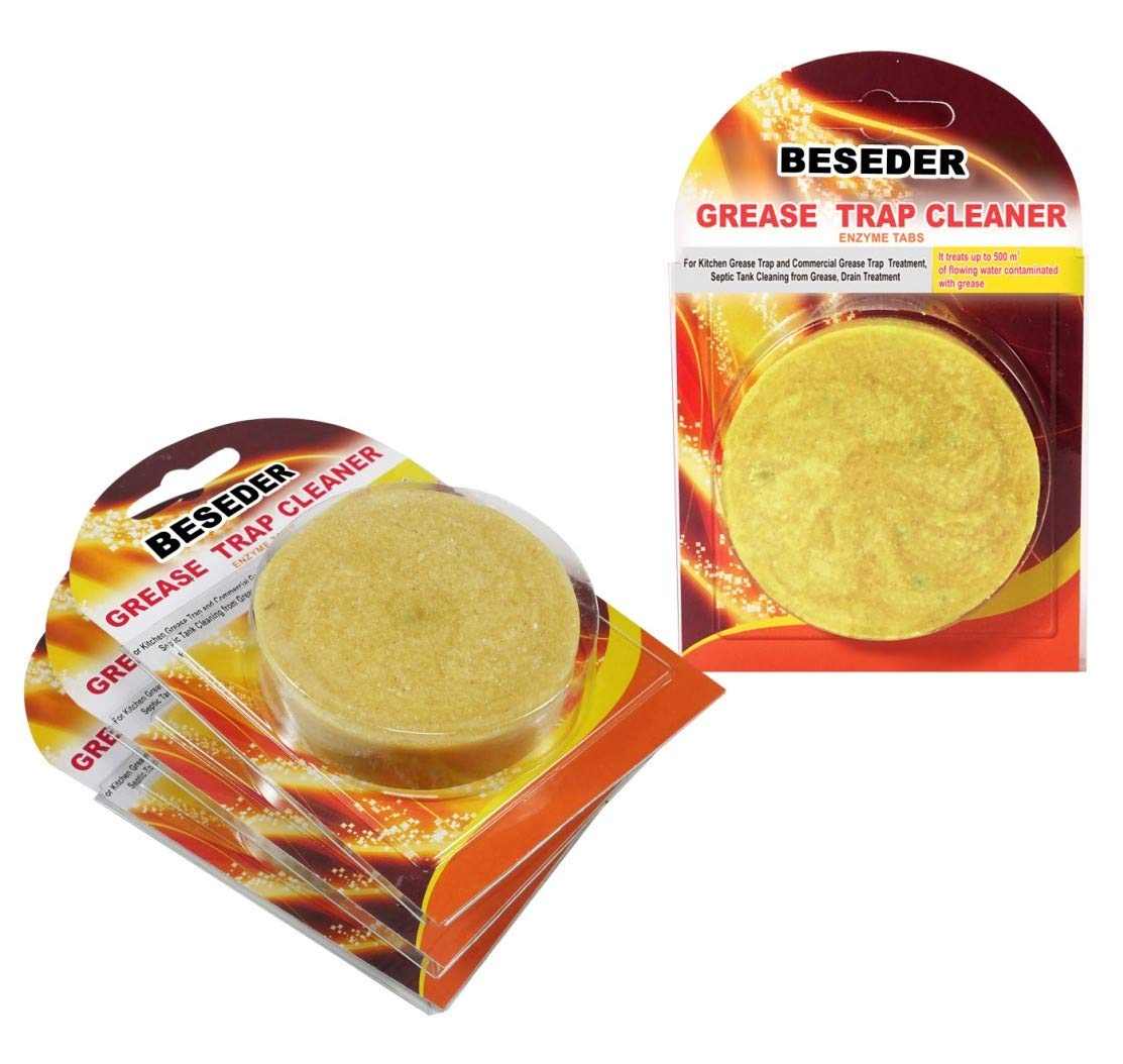 Enzyme Tabs Grease Trap Cleaner. For Septic Tank Cleaning, Clearing Grease from Drains. Breaks Down All Oils. For Home Kitchen & Commercial Restaurants, concentration 2 bln CFU/g (4 tablets)
