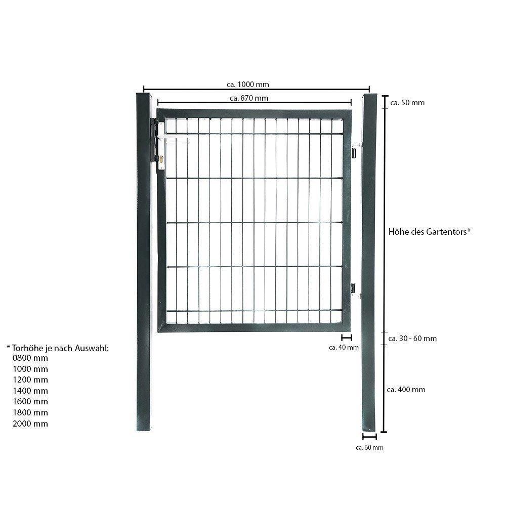 Gartentor Anthrazit verschiedene H/öhen hochwertigem Griff inkl Home Deluxe 0,8 m Schloss und Schl/üsseln