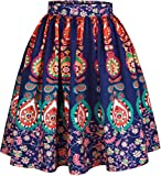 Women's Printed Pleated Flared Midi Skater Skirt A-line Large