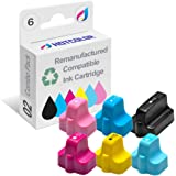 HOTCOLOR Remanufactured Ink Cartridge Replacement for HP 02 Ink for HP photosmart C5180 C6180 C6280 C7180 C7280 C7200 Printer
