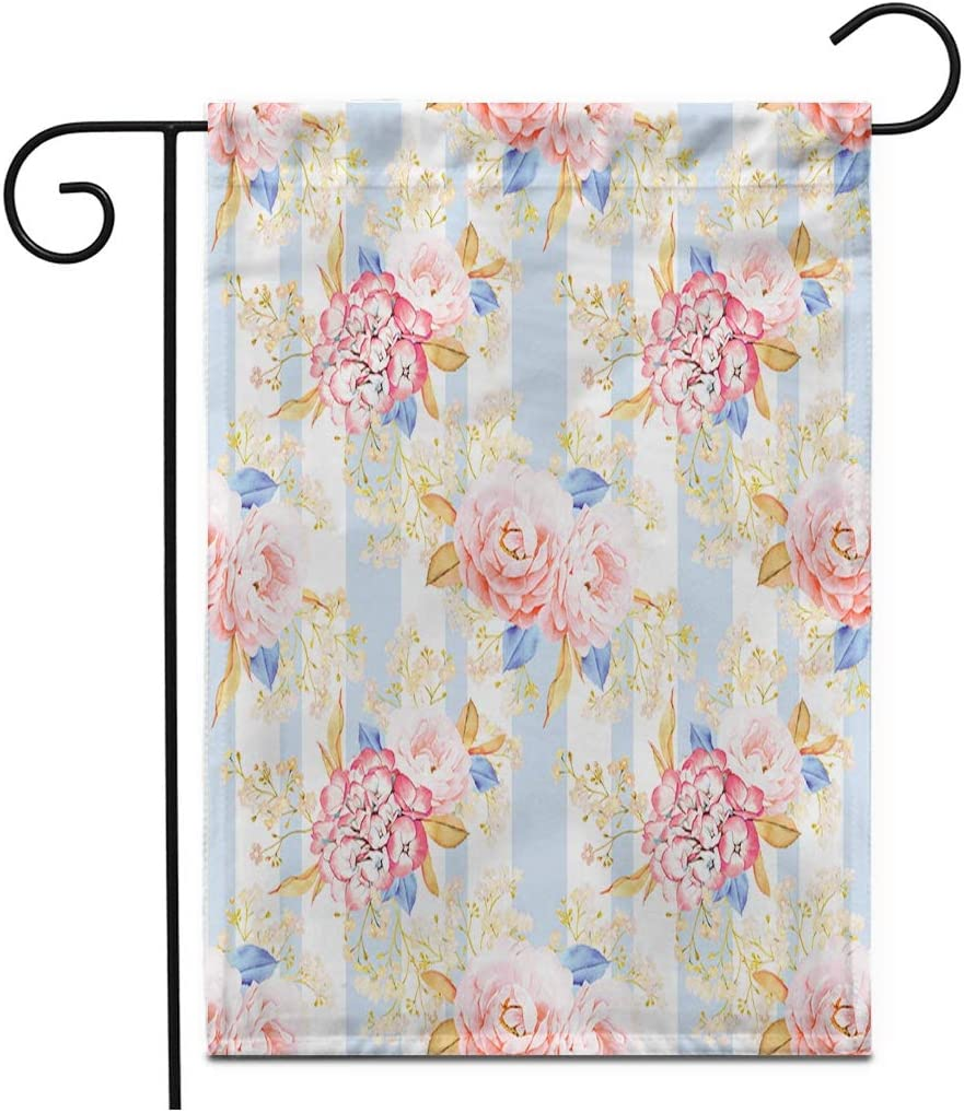 """Adowyee 28""""x 40"""" Garden Flag Blue Aroma Pink Roses Bouquet Watercolor Shabby Chic Red Outdoor Double Sided Decorative House Yard Flags"""