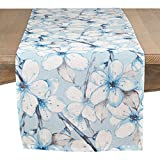 SARO LIFESTYLE Lilywood Collection Table-Toppers, 15'' x 72'', Aqua