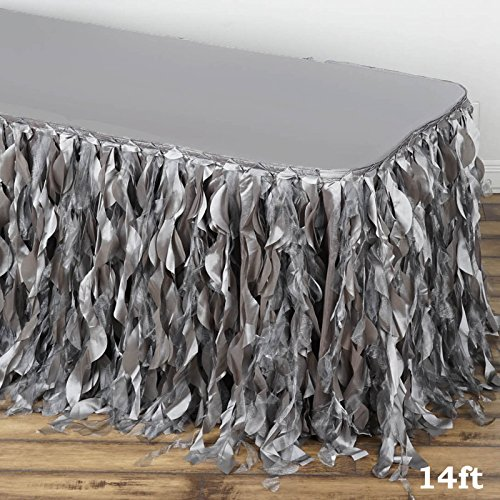 Efavormart 14ft Enchanting Curly Willow Taffeta Table Skirt for Kitchen Dining Catering Wedding Birthday Party Events – Silver