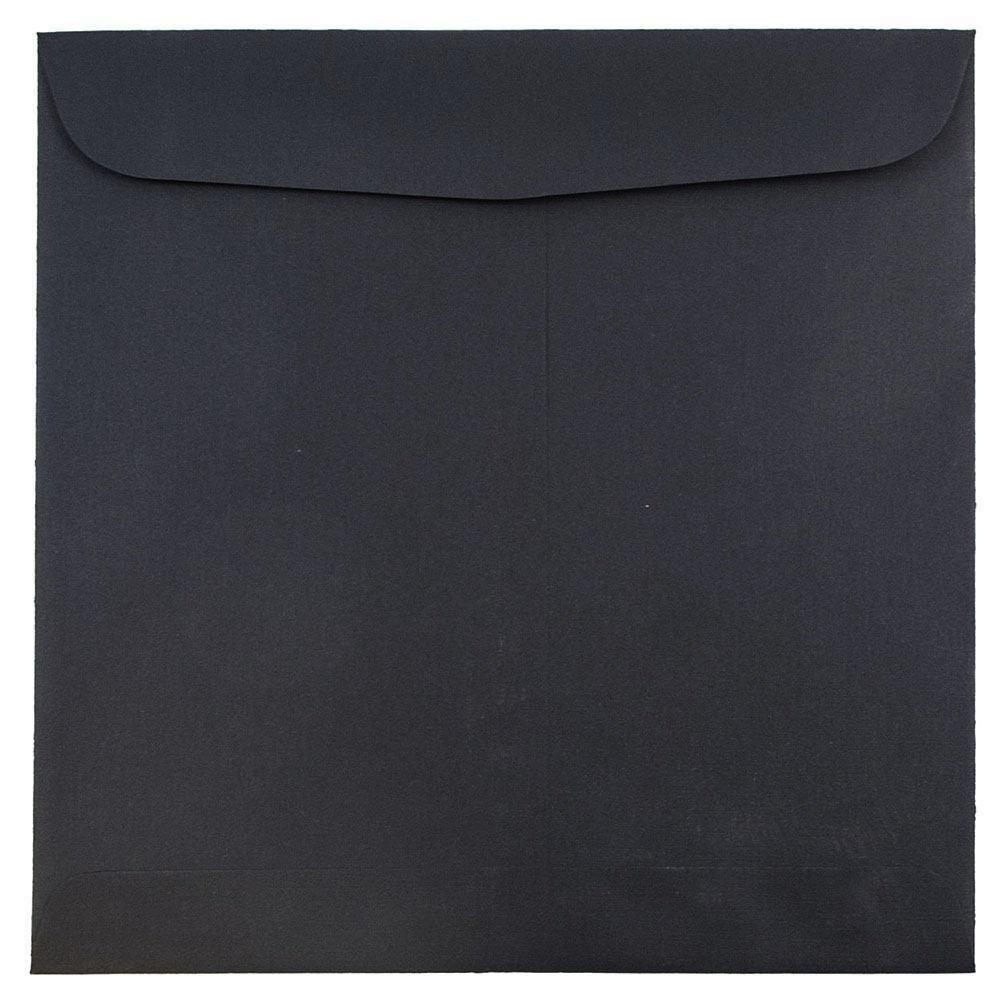 JAM PAPER 9 1/2 x 9 1/2 Square Invitation Envelopes - Black Linen - 50/Pack