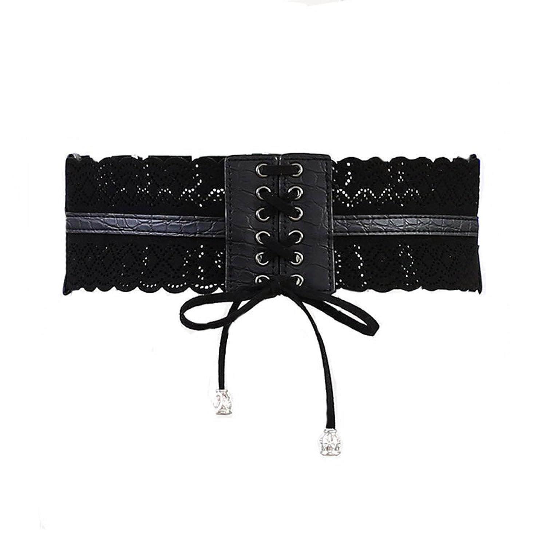 Renaissance Lady's Tied Black Wide Waist Elastic Lace Up Belt