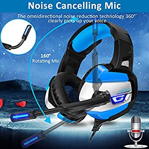 Gaming Headset for PS4, Xbox One(adapter needed)/S/X,PC, ONIKUMA Stereo Noise Canceling Over Ear Headphones with Mic, LED Light, Soft Memory Earmuffs for Nintendo Switch (Audio) Laptop Mac