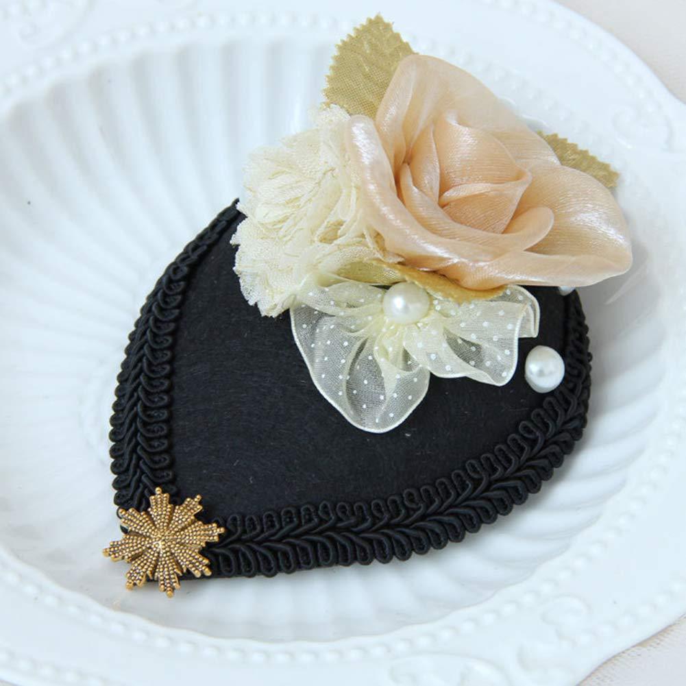 BAOBAO Vintage Pillbox Hat Lace Flower Fascinator Hair Clip Wedding Tea Party Banquet Prom Headwear