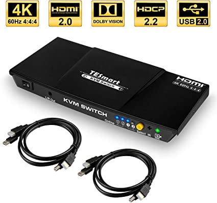 Amazon.com: TESmart 2x1/4x1 HDMI KVM Switch Negro adaptador ...