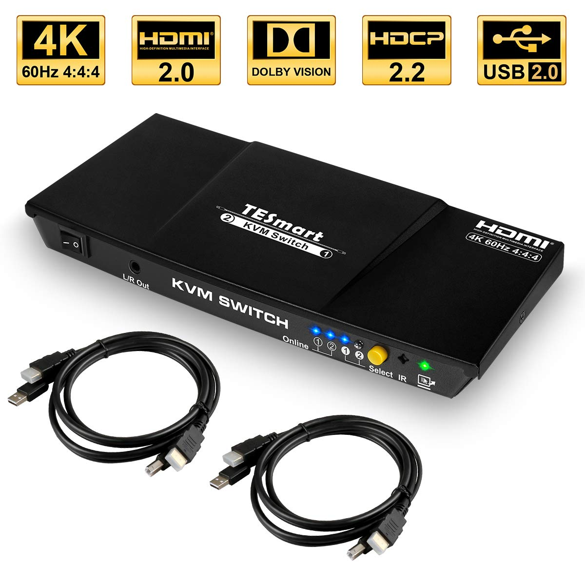 HDCP 2.2 Audio Out//Mic in 4K60Hz YUV444 18Gbps Dolby Atmos 2x1 USB 2.0 Keyboard//Mouse//Printer//Monitor//PC selector AV Access KVM Switch HDMI 2.0 2 Port IR Remote 2 in 1 Out HDR10 Dobly Vision