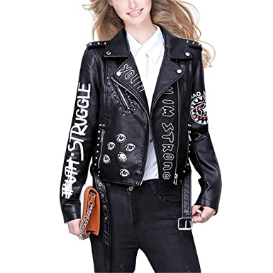 HYDSFG Letters Rivet Leather Jacket Women Punk Moto Coat ...