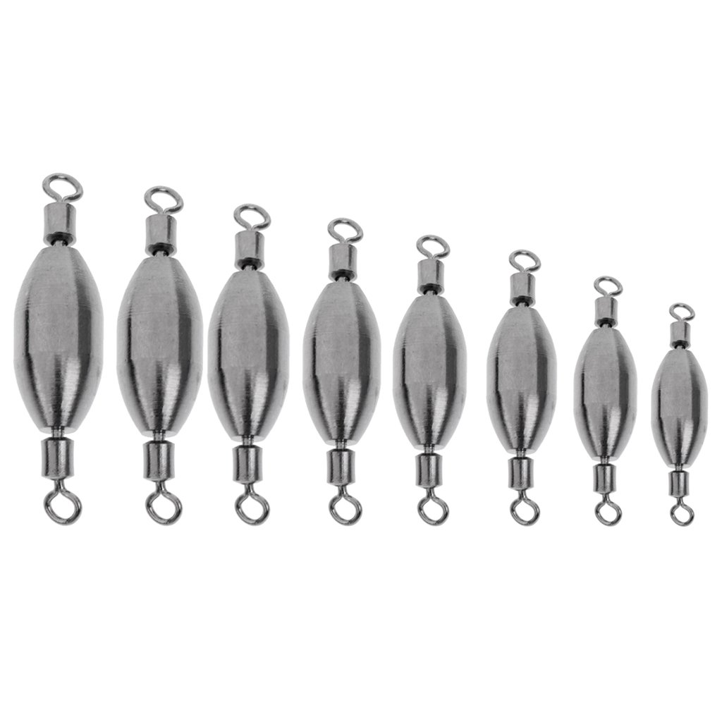8 Sizes Sharplace 10pcs Trolling Spinning Sea Fishing Weights Sinkers Swivels Connector Terminal Tackle