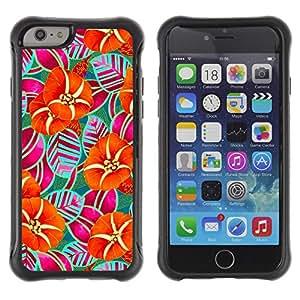 Híbridos estuche rígido plástico de protección con soporte para el Apple iPhone 6 (4.7) - stripes orange art drawing