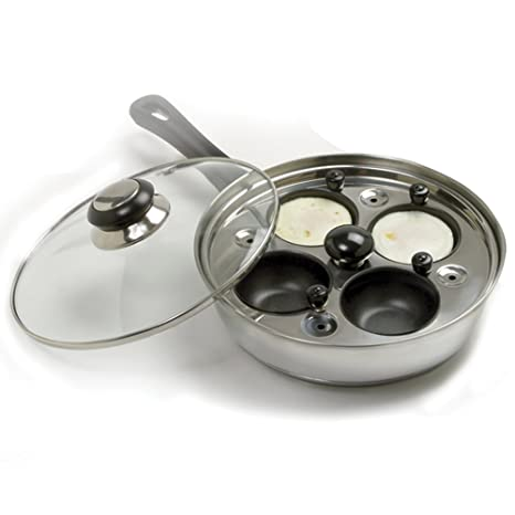 "Norpro Deluxe Stainless Steel Egg Poacher Fry Pan Skillet Set 8.5"" ..."