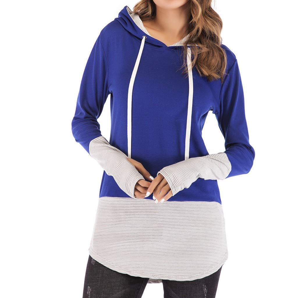 Women Hoodies Tops - ✔ Hypothesis ☎ Long Sleeve V-Neck Patchwork Pullover T-Shirt Drawstring Sweatshirt Blue by ✔ Hypothesis_X ☎ Top