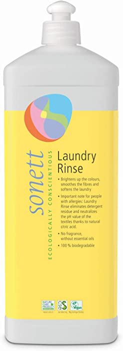 Sonett Organic Laundry Rinse 34 fl.oz / 1LFree from Essential Oils & Neutral Scent -for All Types of Textiles -Refreshes Colors, smooths fibers & softens The Laundry