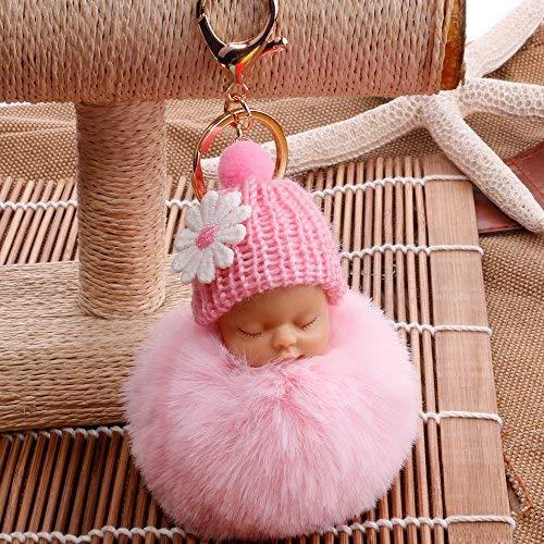 TotallyFashion - Llavero con forma de muñeca durmiendo, pompón, bola de felpa sintética para llavero de coche, accesorios colgantes para niñas y ...