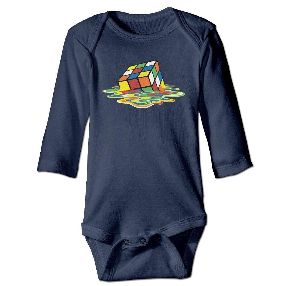 Infant Melting Rubik Cube Long Sleeve Romper Onesie Bodysuit Jumpsuit