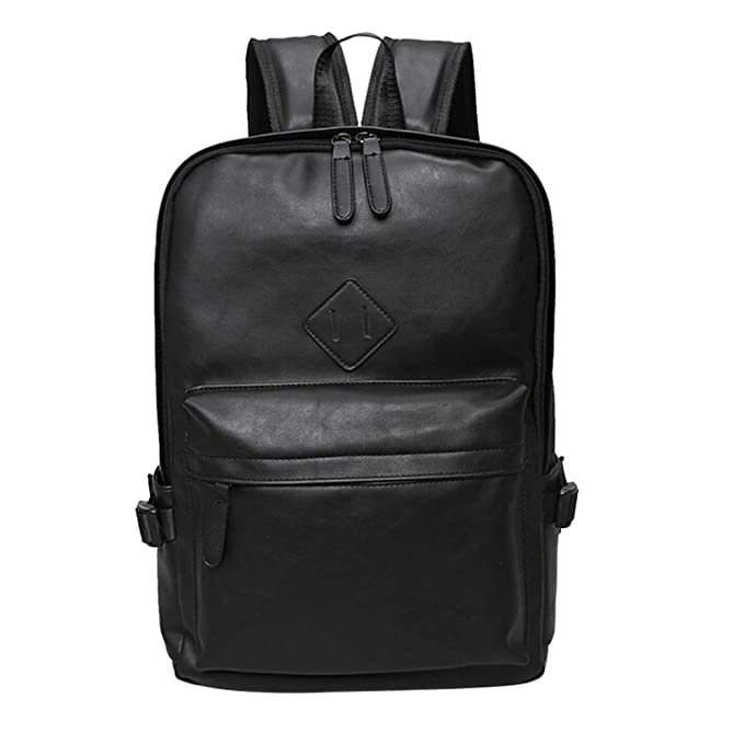 6886bd562fed Amazon.com  Remiel Store Neutral Solid Vintage Leather Backpack Laptop  Travel School Bag (Black)  Clothing