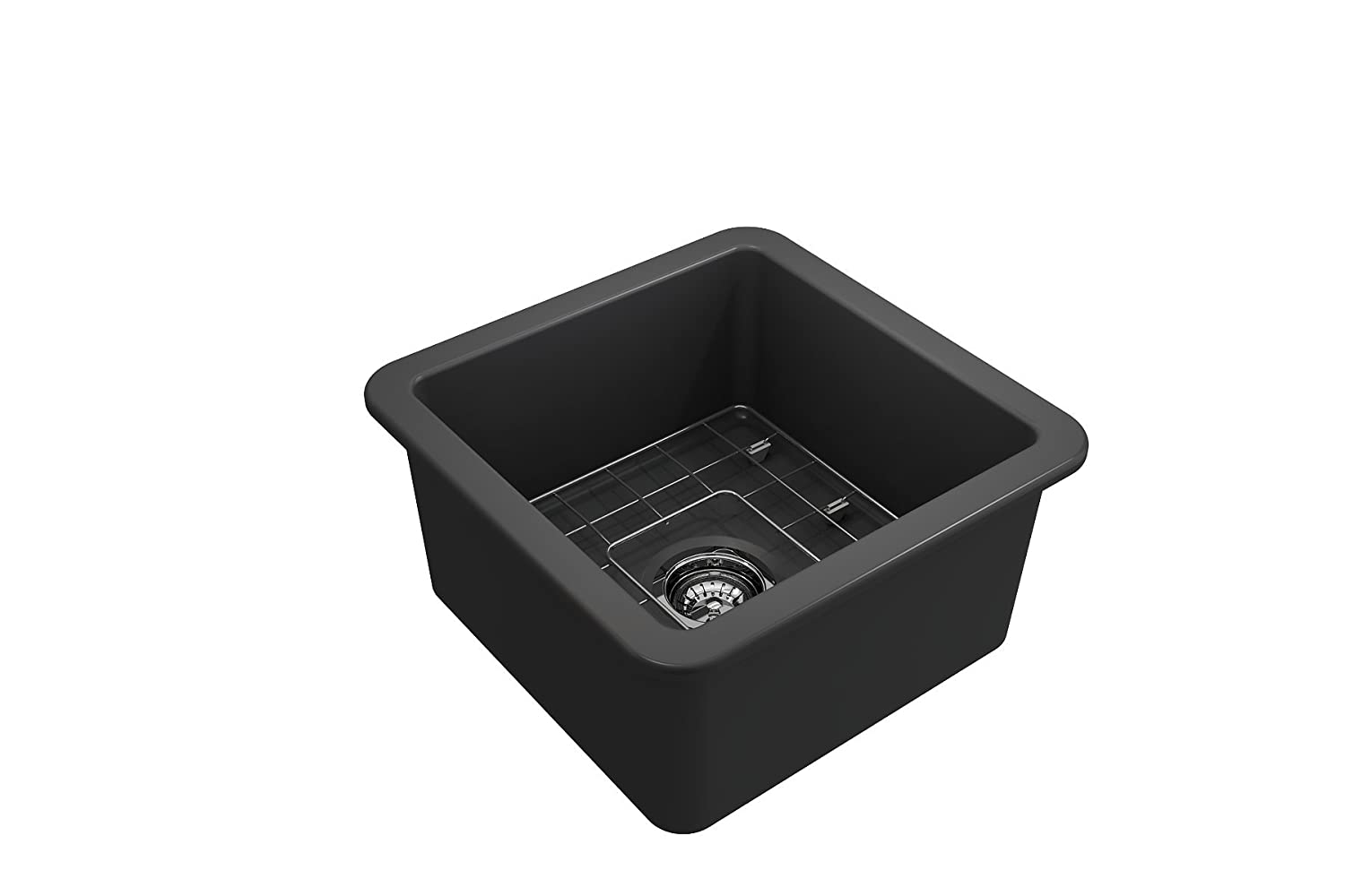 Sotto Undermount Fireclay 18 in Single Bowl Kitchen Sink with Protective Bottom Grid and Strainer in M.Dark Gray BOCCHI 1359-020-0120