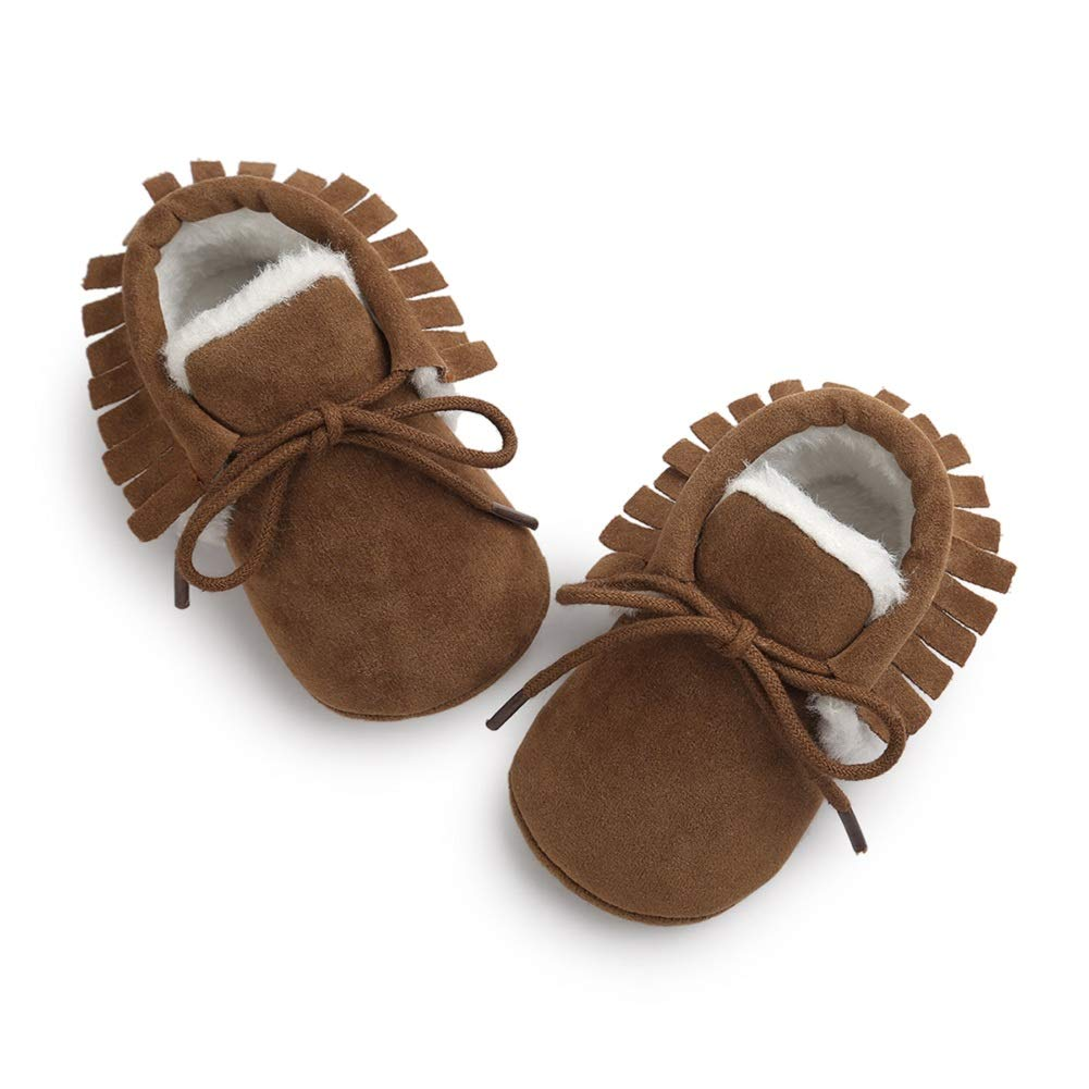 Avish Infant Baby Girls Boys Slip-On Moccasins Tassel Fur Soft Soled Non-Slip Slippers Toddlers Crib Shoes