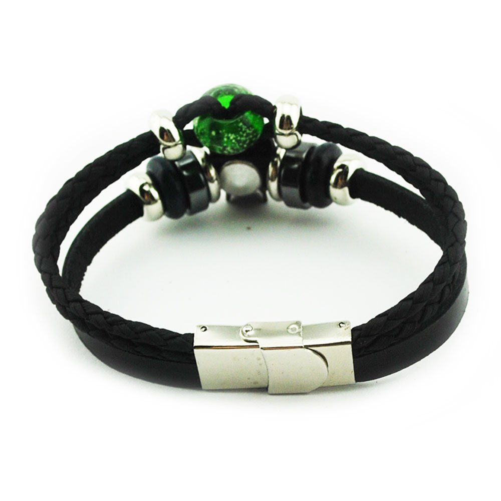 Green Devel Skull Black Leather Skeleton Three-Row Metal Loop Amulet