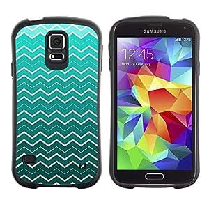 """Pulsar iFace Series Tpu silicona Carcasa Funda Case para Samsung Galaxy S5 , Ondas del papel pintado del arte de la turquesa blanca"""""""