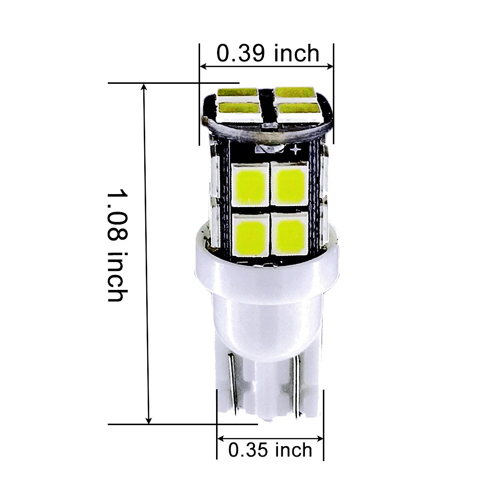 Pack of 20 for Camper Interior Map Dome Lights Replacement 194 168 W5W Lamp MuHize Super Bright 6000K White DC 12V 20SMD 2019 New Design 2 Years Warranty MuHize T10 Car RV LED Wedge Bulbs